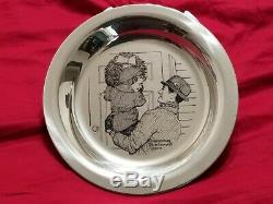 Norman Rockwell Sterling Silver Christmas Plates FULL SET! 70'-75' Cherry Frames