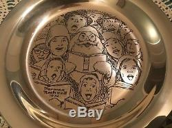 Norman Rockwell The Carolers Sterling Silver Franklin Mint Christmas Plate 1972