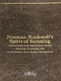 Norman Rockwell's Spirit of Scouting 12 Sterling Silver Rounds Franklin Mint