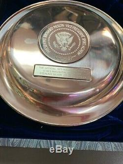 Official INAUGURAL PLATE 1973 NIXON/AGNEW Sterling Silver Franklin Mint #'ed