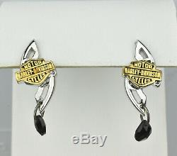 Pair of The Franklin Mint Harley Davidson Sterling Silver 925 Earrings Gold Tone