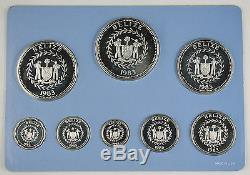 @RARE@ Belize 1983 Sterling Silver 8 Coin Proof Set + BOX COA From Franklin Mint