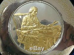 Rare 1974 Sterling Silver Thomas Jefferson Plate, Center Gold Plate, 250 Grams