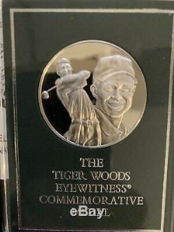 Rare Franklin Mint Tiger Woods Sterling Silver Eyewitness Commemorative Medal