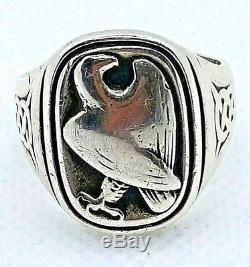 Rare Georg Jensen Sterling Silver Eagle Ring From Franklin Mint Size 10.5