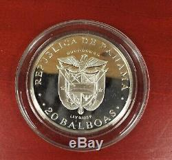 Republic Of Panama 1973 Proof 20 Balboas Coin 2000 Grains Sterling Silver COA