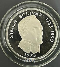 Republic Of Panama 1973Proof 20 Balboas Coin 2000 Grains Sterling Silver, Box & C