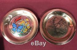 STERLING SILVER Franklin Mint Plates Along The Brandy wine &Butterflies 522g