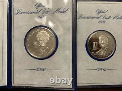 Set Of 14 1976 Bicentennial Visit Medals, Sterling Silver, Franklin Mint