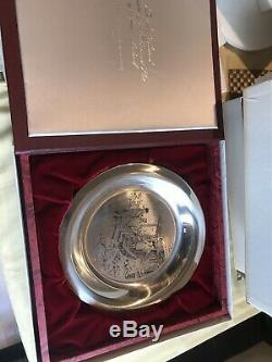 Set Of 5 Franklin Mint Sterling Silver Christmas Plates By Norman Rockwell 1971
