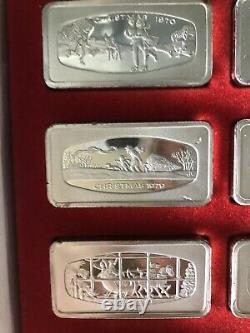 Set of Christmas Ingots 1970 Thru 1979 OF. 925 Silver 23.2 oz (Franklin Mint)
