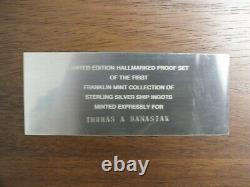 Ship Luxury Liner 925 Sterling Silver Ingot Art Medal Set Franklin Mint LF633
