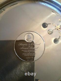 Solid Sterling Silver Christmas Plate Norman Rockwell Hanging The Wreath