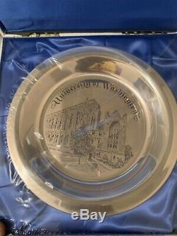 Solid Sterling Silver Plate- University Of Washington Coa Franklin Mint Box New