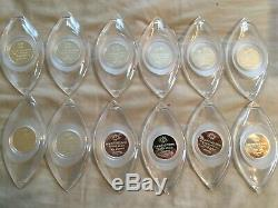 Sterling Silver 12 Days of Christmas Ornaments Franklin Mint Set 925 Silver