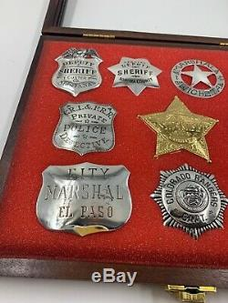Sterling Silver 1987 Franklin Mint Collectible 10 Western Lawmen Badges Replicas