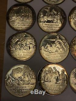 Sterling Silver 40 Coin Franklin Mint Set- Revolutionary War Many With Toning