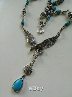 Sterling Silver 925 Harley Davidson Turquoise Eagle Charm Necklace FRANKLIN MINT
