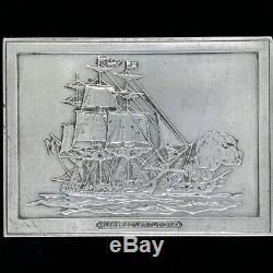 Sterling Silver Bar Ingot Uss Constitution Ironsides Navy Ship Vtg Belt Buckle