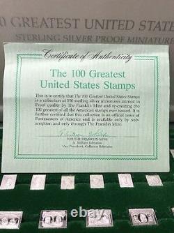 Sterling Silver Franklin Mint 100 Greatest United States Stamp Complete Set Rare