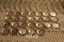 Sterling Silver Franklin Mint Miniature Plates Floral Alphabet Full Set