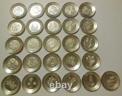 Sterling Silver Franklin Mint The Floral Alphabet Miniature Plates 925 Stamp