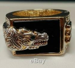 Sterling Silver Gold Vermeil- Franklin Mint Dragon Onyx Ring- Multiple Sizes