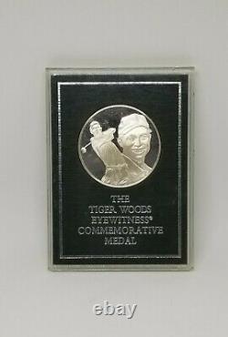 Surpressed Franklin Mint Tiger Woods Medal Sterling Silver Coin Rare 1997 Golf