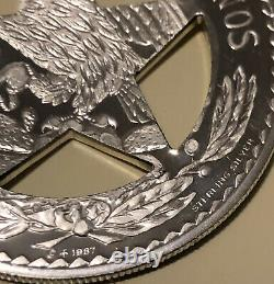 Texas State Ranger Badge STERLING SILVER Cut-Out Star FRANKLIN MINT Peso 1987