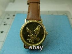 The Franklin Mint Eagle Sterling Silver Dial Gold Plated Watch
