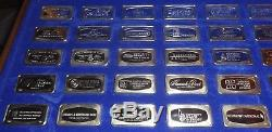 The Franklin Mint Guaranteed 1000 Grains 925 Sterling Silver Bar Set of 50