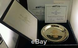 The George Washington Plate Sterling Silver Inlaid with 24k Gold Franklin Mint