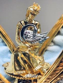 The House Of Faberge Musical Swan Lake Egg Sterling Silver Jeweled Franklin Mint