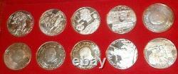 Tunisia 1969 Franklin Mint Proof Sterling Silver 10 Coin 1 Dinar Box COA