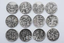 VITA CHRISTI Franklin Mint LIFE OF CHRIST Medal Set of 12 Sterling Silver Medals