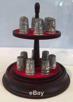 VTG 1978 Franklin Mint 13 Sterling Silver Colonial America Thimble Collection