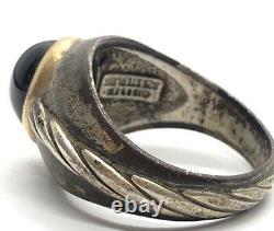 Vintage 14k Gold and Sterling Silver Ring 925 Size 13 Mens Black Onyx Signet