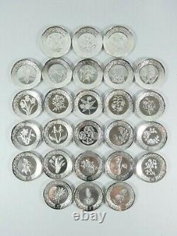 Vintage 1979 Set 26 Sterling Silver Alphabet Floral Mini Plate A-Z Franklin Mint