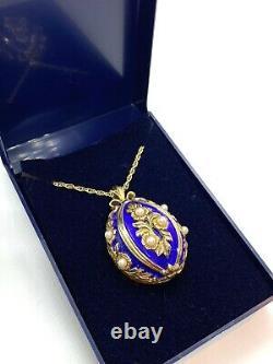 Vintage FRANKLIN MINT Faberge Enamel & Pearl Silver Egg Watch Pendant Necklace