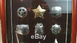 Vintage Franklin Mint with 12 Sterling Silver Western Lawmen Badges shields