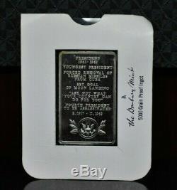 Vintage John F. Kennedy 35th President 10.4oz Sterling Silver Art Bar 069DUD