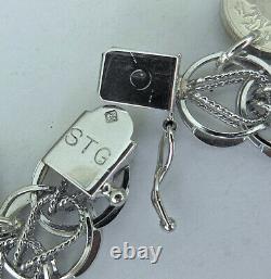 Vintage NOS Sterling Charm Bracelet Franklin Mint Zodiac Mini Coin Charms