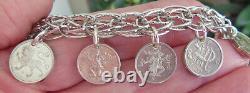 Vintage Sterling Charm Bracelet Franklin Mint Zodiac Mini Coin Charms