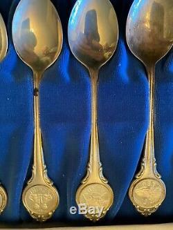 Vintage Sterling Silver 925 Franklin Mint Zodiac Spoons In Box