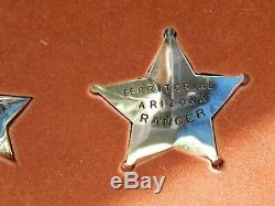 Vintage Sterling Silver Franklin Mint Great Western Lawmen Badge Set In Case