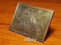 Vintage U. S. S. Constitution Solid Sterling Silver Ingot Belt Buckle