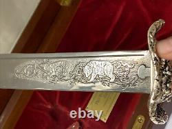 Vtg Franklin Mint Teddy Roosevelt Silver Knife Embellished Sterling Silver 1988
