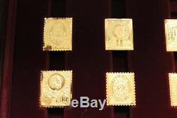 WORLD 1st STAMPS 24k GOLD STERLING SILVER L/E PROOFS RARE FRANKLIN MINT 73
