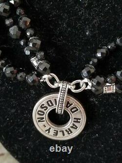 Women's Harley Davidson Necklace (Franklin Mint) Black Onyx & Sterling Silver